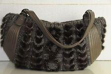 $1590 NEW Salvatore Ferragamo Brown Taupe Silver Lurex Wool BALENA Large  BAG