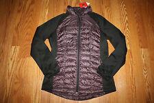 NWT Womens WEATHERPROOF Full Zip Ultra Light Down Eggplant / Black Jacket Medium