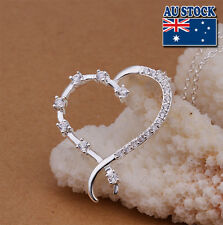 Wholesale 925 Sterling Silver Filled Heart Pendant Necklace With Clear Zircon