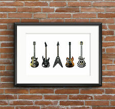 Famous Metal Guitars ART POSTER A1 size