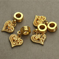 10pcs Gold Plated Heart Pendant Charm Beads for Bracelet Necklace DIY Making