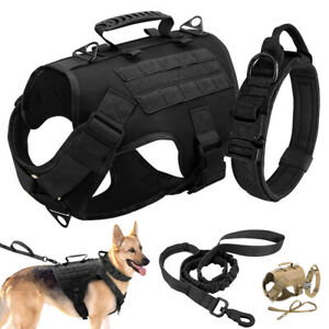 Tactical Military Dog Harness Training Collar Nylon Bungee Leash Large Dogs S-L