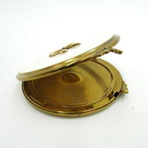 Vintage VOLUPTE USA Round Powder Box Make Up Case White And Gold Tones