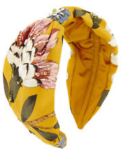 ACCESSORIZE WIDE KNOT FLORAL EMBELLISHED ALICE HEADBAND MUSTARD YELLOW SEQUIN