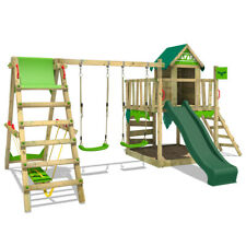 FATMOOSE Spielturm Klettergerüst JazzyJungle Jam XXL m. Surfanbau - Rutsche grün