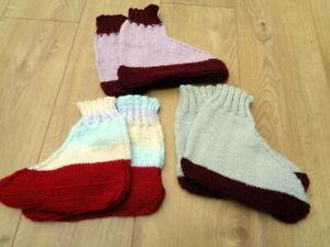 New Genuine Handknitted Bed Socks Slipper Socks x 3 Pairs