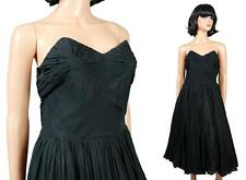 50s Strapless Prom Dress Sz S Vintage Black Silk Chiffon Cocktail Evening Gown