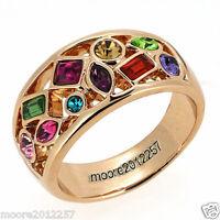 charming Amethyst Ruby Blue Emerald Topaz Multi-Gemstone Rose gold Ring