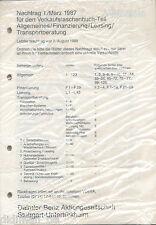 Mercedes Nachtrag 1 Verkaufstaschenbuch 3/87 1987 Allgemeines Finanzierung Auto