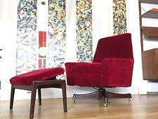 Vtg Chair w Ottoman  Mid Century Modern Selig Danish Style Walnut Swivel Red