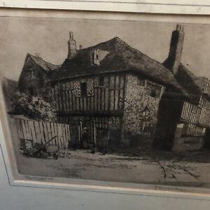 "RYE Sussex- ""Mermaid Inn""-  Reginald Green Original Engraving. Framed Signed"