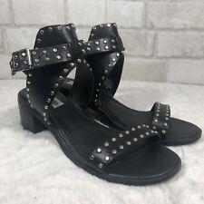 078829062d2743 Steve Madden Black Leather Studded Ankle Strap Chunky Heel Gila Sandals Sz  8.5 M