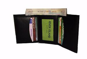 Mens Real LEATHER Trifold CREDIT CARD HOLDER Wallet Photo ID Black New Slimfold