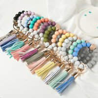 Women Fashion Silicone Beaded Key Ring Bracelet Tassels Wristlet Keychain Bangle