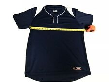 Men's Under Armour Heat Gear Baseball shirt Sz M Loose Fit Navy Blue Short.