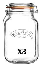 3 X Kilner Square Glass Clip Top Jar 1.5 Litre    [5921]