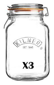 3 X Kilner Square Glass Clip Top Jar 1.5 Litre   [5921P]