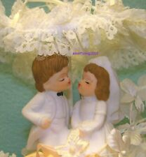 Vintage Cake Topper Porcelain Bride And Groom Figurine White And Soft Yellow