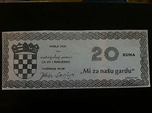 EXTRA RARRE- LOCAL NOTE- CROATIA 20 KUNA 1990s,- CROATIAN ARMY !!!