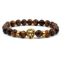 Hot 8MM Natural Tiger Eye Stone Golden Lion's Head Charm Beaded Elastic Bracelet
