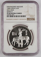 1989 China 10 Yuan Silver Proof Coin NGC PF69 UC Wildlife Series II - Sika Deer