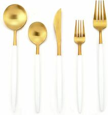 DEACORY Flatware Set Silverware Set White and Gold 18/10 Stainless Steel Cutlery