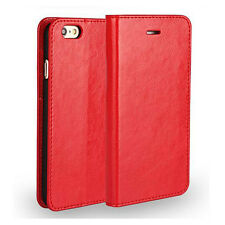 Luxury Genuine Leather Wallet Card Slot Case Flip Cover Skin for Apple Samsung Huawei Honor 5x Red