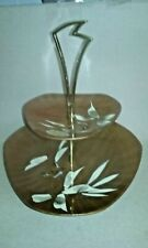 Vintage two tiered serving tray Catalina woodenware hand painted bird Japan
