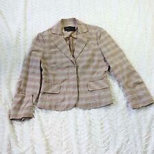 BCBG Maz Azria Womens sz XS Tan Plaid Linen Blend Career Blazer Jacket F01