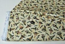 New listing Michael Miller quilt-craft fabric Bats, Cats, Rats Hats beige 2 yds (ddc-9686)
