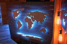 Weltkarte Holz Palette Wandbild LED 3D Effekt tauglich! Bausatz! 140cm - 240cm
