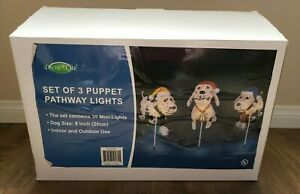 Christmas Pathway Lights: Set of 3 Puppet Dogs