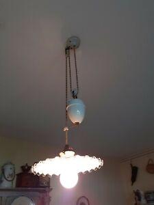 Superbe ancienne LAMPE SUSPENSION Monte et Baisse fin XIXe.