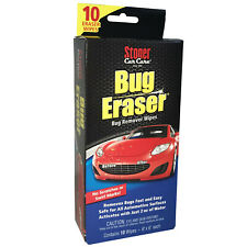 NEW! Stoner Car Care BUG ERASER 10 Bug Remover Wipes NO SCRATCHES or SWIRL MARKS