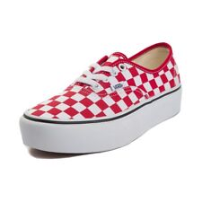 Vans Authentic Platform Shoe Sneaker Classic Checkerboard Red White Women's 10