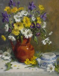 Linda Glover Gooch Mixed Bouquet Irises Daisies Oil Painting on Linen 20x16