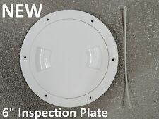 """NEW 6"""" White Inspection Plate Boat Deck Screw Out Hatch Access Cover RV 12792"""