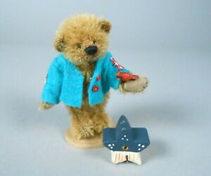 Deb Canham William Old Gold Mohair Bear in Blue Jacket Store Special