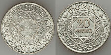 1933 French Morocco Large Silver  20 Francs- Nice BU