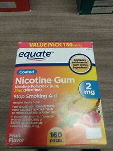 Equate Nicotine Coated Gum Stop Smoking Aid Fruit Flavor 2 mg 160 Count