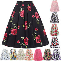 Girl Womens Floral High Waist Skater Full Circle Pleated Party Midi Skirt XS-3XL