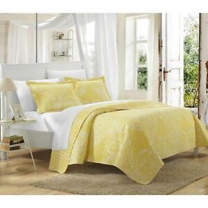 Yellow White Scroll Houndstooth 3 pc Quilt Set Coverlet Twin Queen King Bedding