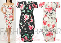 Womens V Front Floral Bardot Midi Bodycon Dress Off Shoulder Wedding Party Dress