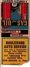 Boulevard Auto Service 615 Lakewood Blvd. Holland Michigan MI Old Matchcover