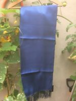 """Silk woven diamond Scarf French Navy Blue by Tails and the Unexpected 3"""" Fringed"""