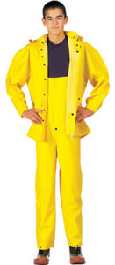 Bright Yellow Waterproof PVC 2 Piece Rain Suit Deluxe Heavyweight Jacket & Pants