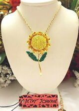 BETSEY JOHNSON CRYSTAL AND ENAMEL YELLOW SUNFLOWER PENDANT NECKLACE/BROOCH