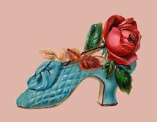 METAL REFRIGERATOR MAGNET Old Fashioned Turquoise Shoe Red Rose Flower
