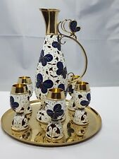 8 tlg. Russisch Likör / Vodka Set Emaille Silber 925 vergoldet Schmetterling Dek