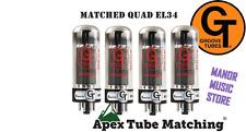 Matched Quad EL34 - Groove Tubes vacuum valve tube set used in Marshall